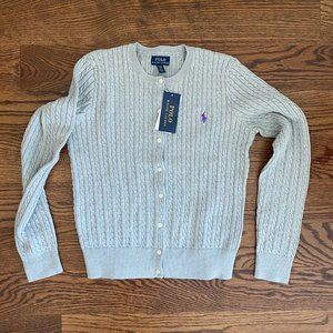 NWT Polo Ralph Lauren Cable Knit Button Down Sweat